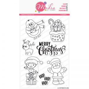 santa friends design photopolymer stamp for crafts, arts and DIY by Mudra