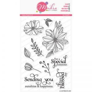 simply floral design photopolymer stamp for crafts, arts and DIY by Mudra