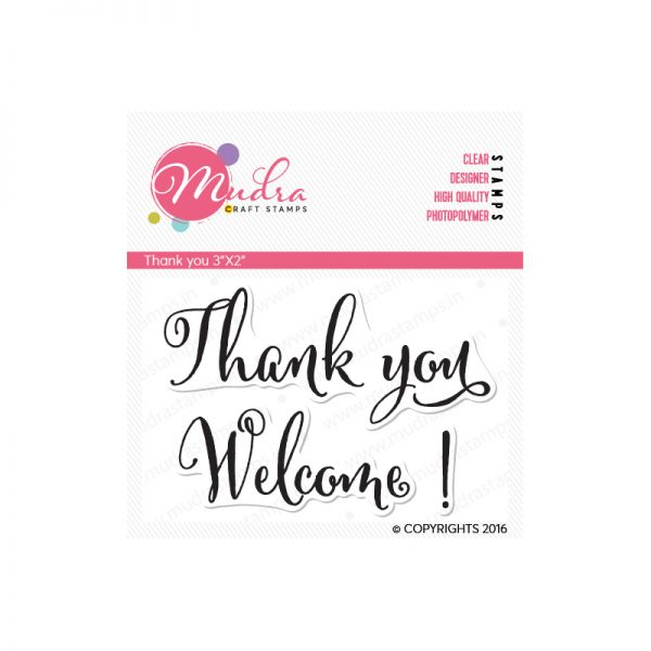 thank you design photopolymer stamp for crafts, arts and DIY by Mudra