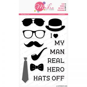 the man design photopolymer stamp for crafts, arts and DIY by Mudra