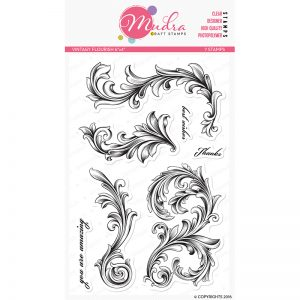vintagy flourish design photopolymer stamp for crafts, arts and DIY by Mudra