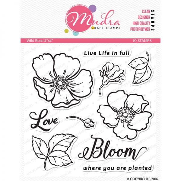 wild rose design photopolymer stamp for crafts, arts and DIY by Mudra