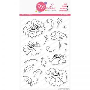 wild florals design photopolymer stamp for crafts, arts and DIY by Mudra