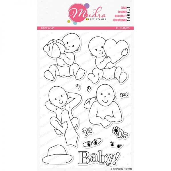 baby design photopolymer stamp for crafts, arts and DIY by Mudra
