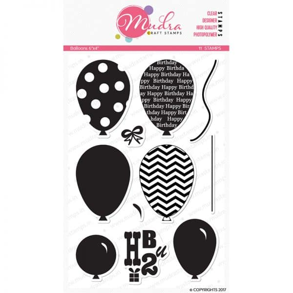 balloons design photopolymer stamp for crafts, arts and DIY by Mudra