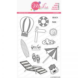 beach fun design photopolymer stamp for crafts, arts and DIY by Mudra