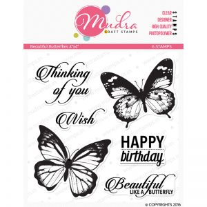 beautiful butterflies design photopolymer stamp for crafts, arts and DIY by Mudra