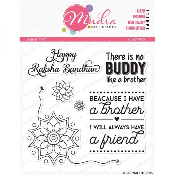 brother design photopolymer stamp for crafts, arts and DIY by Mudra