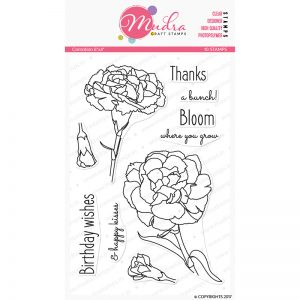 carnation design photopolymer stamp for crafts, arts and DIY by Mudra