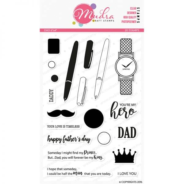 dad design photopolymer stamp for crafts, arts and DIY by Mudra