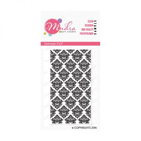 damask design photopolymer stamp for crafts, arts and DIY by Mudra