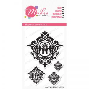 elegant damask design photopolymer stamp for crafts, arts and DIY by Mudra