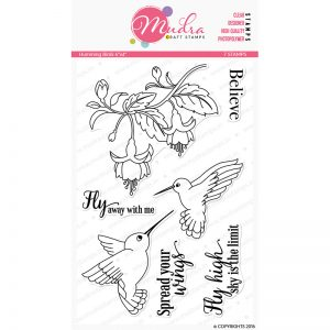 humming birds design photopolymer stamp for crafts, arts and DIY by Mudra