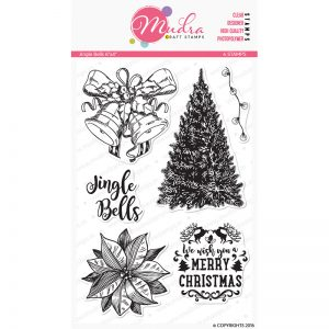 jingle bells design photopolymer stamp for crafts, arts and DIY by Mudra