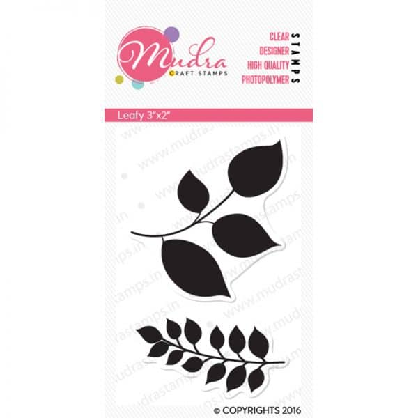 leafy design photopolymer stamp for crafts, arts and DIY by Mudra