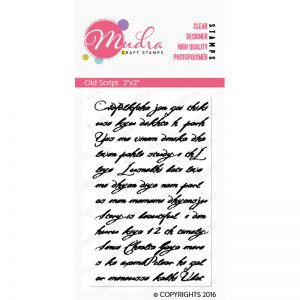old script design photopolymer stamp for crafts, arts and DIY by Mudra