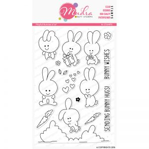 playful bunnies design photopolymer stamp for crafts, arts and DIY by Mudra