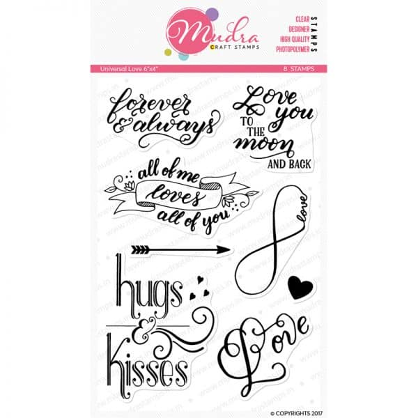 universal love design photopolymer stamp for crafts, arts and DIY by Mudra