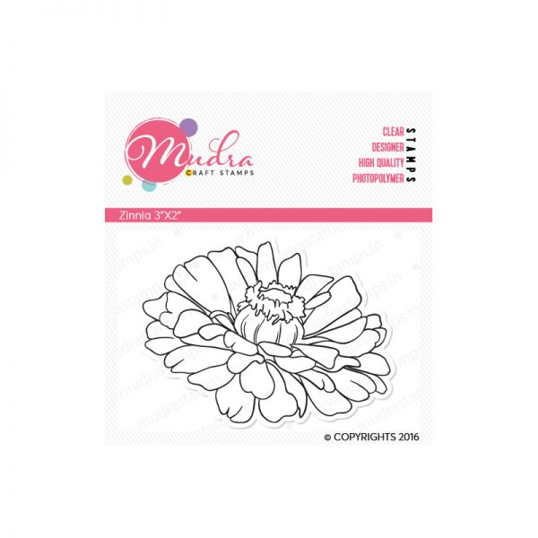 Zinnia design photopolymer stamp for crafts, arts and DIY by Mudra
