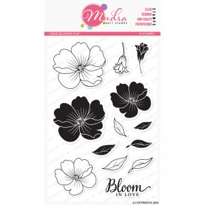 linen blooms design photopolymer stamp for crafts, arts and DIY by Mudra