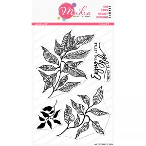 leaves design photopolymer stamp for crafts, arts and DIY by Mudra