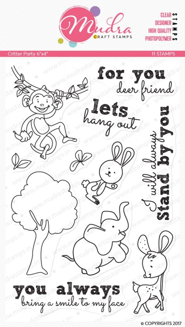critter party design photopolymer stamp for crafts, arts and DIY by Mudra