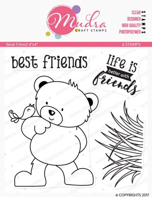 bear friend design photopolymer stamp for crafts, arts and DIY by Mudra