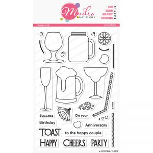 cheers design photopolymer stamp for crafts, arts and DIY by Mudra