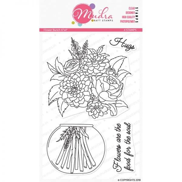 flower bunch design photopolymer stamp for crafts, arts and DIY by Mudra
