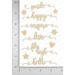 Chipzeb - Words #1 - designer chipboard laser cut embellishment by Mudra