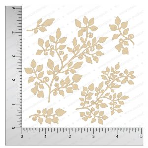 Chipzeb - Leafy Swirls - designer chipboard laser cut embellishment by Mudra
