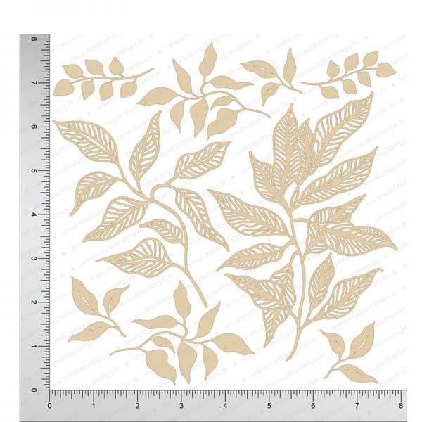 Chipzeb - Leaves - designer chipboard laser cut embellishment by Mudra