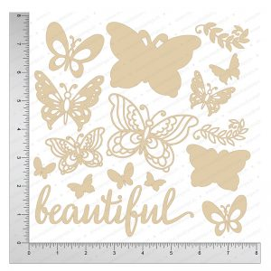 Chipzeb - Beautiful Butterflies - designer chipboard laser cut embellishment by Mudra