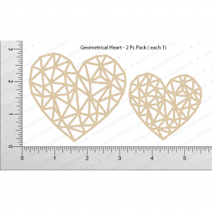 Chipzeb - Geometrical Heart - designer chipboard laser cut embellishment by Mudra