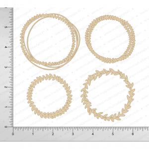 Chipzeb - Leaf Circle - designer chipboard laser cut embellishment by Mudra