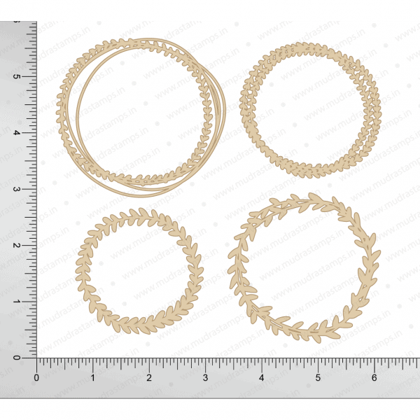 Chipzeb - Leaf Circle - designer chipboard laser cut embellishment by Mudra