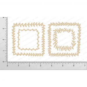 Chipzeb - Leafy Squares - designer chipboard laser cut embellishment by Mudra
