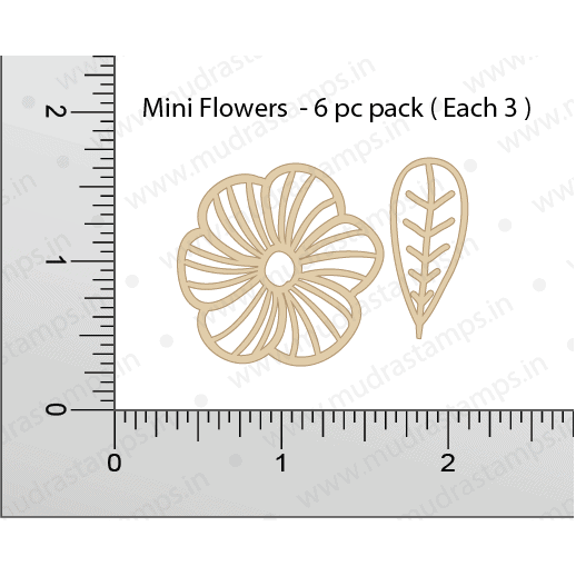 Chipzeb - Mini Flowers - designer chipboard laser cut embellishment by Mudra