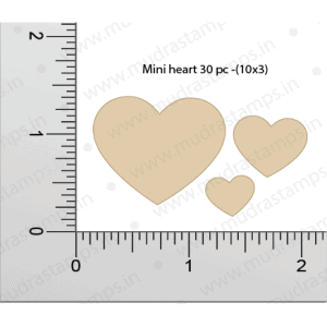 Chipzeb - Mini Hearts - designer chipboard laser cut embellishment by Mudra