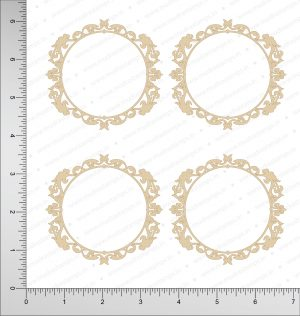 Chipzeb - Victorian Circle Frame - designer chipboard laser cut embellishment by Mudra