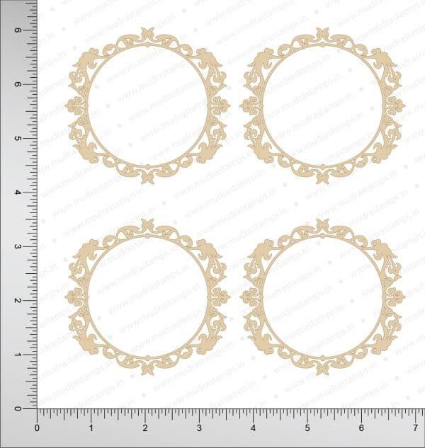 Chipzeb - Victorian Circle Frame - designer chipboard laser cut embellishment by Mudra
