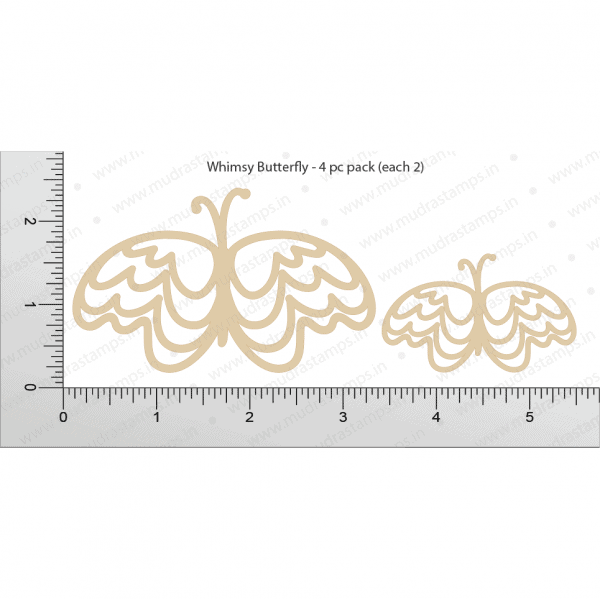 Chipzeb - Whimsy Butterfly - designer chipboard laser cut embellishment by Mudra