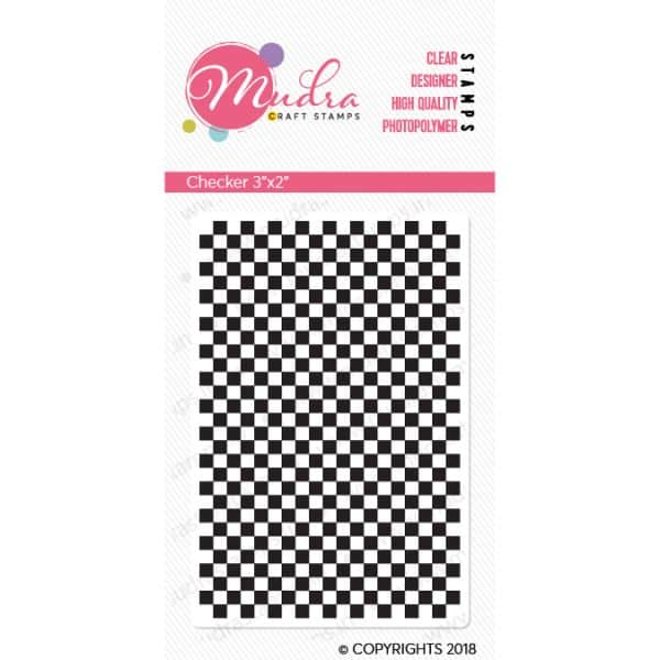 checker design photopolymer stamp for crafts, arts and DIY by Mudra