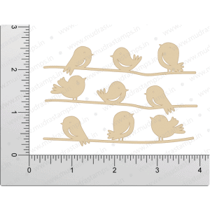 Chipzeb - Cute Birds - designer chipboard laser cut embellishment by Mudra