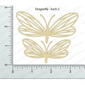 Chipzeb - Dragon Fly - designer chipboard laser cut embellishment by Mudra