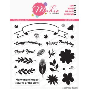 floral banner design photopolymer stamp for crafts, arts and DIY by Mudra