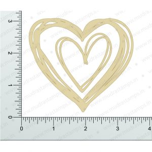 Chipzeb - Scribbled Heart - designer chipboard laser cut embellishment by Mudra