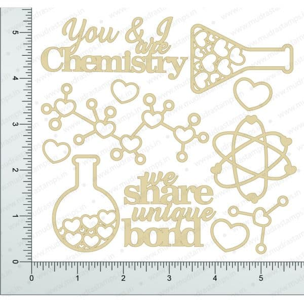 Chipzeb - Love Chemistry - designer chipboard laser cut embellishment by Mudra