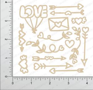 Chipzeb - Love Elements - designer chipboard laser cut embellishment by Mudra