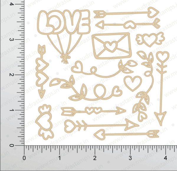 Chipzeb - Love Elements - designer chipboard laser cut embellishment by Mudra